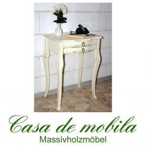 Massivholz Beistelltisch Konsolentisch Telefontisch Barok cremeweiß antik lackiert