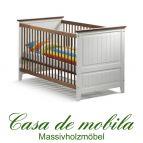 Massivholz Babybett Gitterbett weiss Kiefer massiv JULIA - 140x70, weiß / honig lackiert