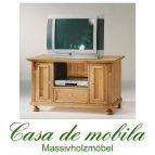 Massivholz TV-Kommode Fichte massiv ALINA - antik od. natur gewachst / weiß gewischt od. lackiert