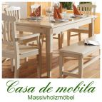 Massivholz Esstisch Tisch Fichte massiv LARA 180x90, mit Ansteckplatten, weiß