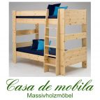 Massivholz Etagenbett Kiefer lackiert 90x200 For Kids - Holz massiv