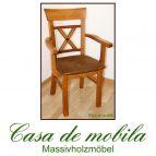 Stuhl mit Armlehne Armlehnstuhl-Set mit Polster goldbraun holz Kiefer GÖTEBORG