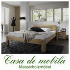 Massivholz Futonbett Buche massiv geölt Holzbett Buchenbett Bett Z - 140x200, mit Kopfteil, bettrahmen