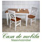 Esstisch Tisch weiß bernsteinfarben 120x78 Fjord - Holz Kiefer massiv 2-farbig lackiert