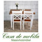 Esstisch Tisch landhausstil weiß / bernsteinfarben 140x90 Fjord - Holz Kiefer massiv 2-farbig lackiert