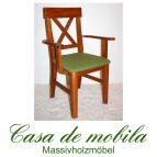 Massivholz Armlehnstuhl mit polster Kiefer massiv provance / honig lackiert ALENA - Holzstuhl Armlehnstuhl mit Polster
