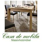 Massivholz Ausziehtisch Tisch ausziehbar 120x85 Asteiche massiv gebürstet bianco geölt - ACERRO