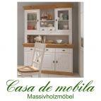 Massivholz Buffetschrank küchenschrank landhausstil Bergen - Holz Kiefer massiv 2-farbig weiß - gebeizt
