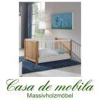 Massivholz Kinderbett Gitterbett Babybett Kiefer GULDBORG - 2-farbig, weiß/gelaugt