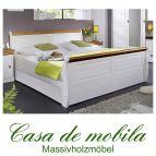 Bett 140x200 Kiefer massiv weiß / Absetzungen honig NEAPEL