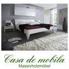 Massivholz Bettgestelle Doppelbett 160x200 XL Holzbett Bett Kiefer massiv weiß lackiert