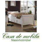 Massivholz Schubladenbett Bett mit Schubladen Landhaus 180x200 Kiefer massiv weiß EVA