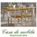 Massivholz Tisch weiß  gelaugt geölt Küchentisch 180x90 Fjord Holz Kiefer massiv 2-farbig