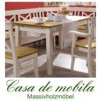 Tisch weiß gelaugt geölt Küchentisch 160x90 Fjord - Holz Kiefer massiv 2-farbig