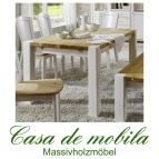 Massivholz Esstisch 160x90 Kiefer massiv 2-farbig weiß / gelaugt Tisch Kieferntisch GULDBORG