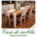 Massivholz Esstisch 160x90 Kiefer massiv 2-farbig weiß / provance Tisch Kieferntisch GULDBORG