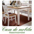 Tisch landhausstil weiß gelaugt geölt Küchentisch 140x90 Fjord - Holz Kiefer massiv 2-farbig