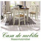 Massivholz Esstisch mit stühlen Holz Kiefer massiv champagner lackiert / Wildeiche geölt NORDIC HOME 5-teilig