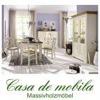 Massivholz Esszimmer komplett Holz Kiefer massiv champagner lackiert / Wildeiche geölt NORDIC HOME 7-teilig