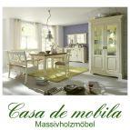 Massivholz Esszimmer komplett Kiefer massiv 2-farbig weiß goldbraun Landhausstil PARIS - Eckbank, Vintage, champagner lackiert 7-teilig