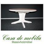 Massivholz Ausziehtisch Tisch ausziehbar oval Kiefer massiv weiss STELLA 139x100 natur lackiert / provance / weiß