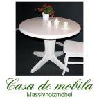 Massivholz kieferntisch Tisch rund ausziehbar Kiefer massiv weiss STELLA 120 natur lackiert / provance / weiß