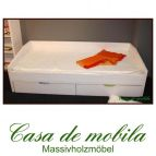 Massivholz Schubladenbett Kiefer massiv weiss Bett mit Schubladen Funktionsbett  NILS - 90x200, gelaugt/geölt / natur lackiert / weiß lasiert