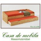 Massivholz Schubladenbett Kiefer massiv gelaugt geölt Bett mit Schubladen Funktionsbett Naturholz  NILS - 90x200,natur lackiert/ weiß lasiert