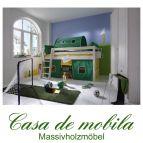 Massivholz Hochbett 90x200 mit Vorhang - Holz Kiefer massiv weiß lasiert INFANSKIDS grün gelb