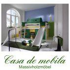 Massivholz Hochbett 90x200 mit Rutsche und Vorhang - Holz Kiefer massiv weiß lasiert INFANSKIDS grün gelb
