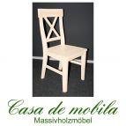 Massivholz Stuhl Kiefer massiv weiß lasiert ALENA - Holzstuhl Küchenstuhl Esszimmerstuhl