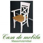 Armlehnsessel Stühle mit Armlehne landhausstil Armlehnstuhl Armlehnenstuhl Kiefer massiv weiß gebeizt geölt Fjord