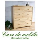 Massivholz Schubladenkommode Kiefer massiv natur lackiert Wäschekommode 3+2 RAUNA Kommode
