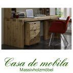 Massivholz Schreibtisch mit Rollcontainer Kiefer massiv antik Büromöbel 2-teilig Malmoe