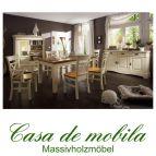 Massivholz Esszimmer-Set landhausstil Kiefer massiv honig PARIS - Vintage, weiß/champagner/goldbraun gebeizt/lackiert