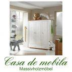 Massivholz Kleiderschrank Kiefer massiv 2-farbig weiß / honig Naturholz Kinderschrank GULDBORG