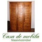 Massivholz Kleiderschrank Kiefer provance/honig lackiert Schlafzimmerschrank RAUNA - 3-türig mit Kassetten-Front
