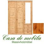 Massivholz Kleiderschrank Kiefer massiv provance/honig lackiert Schlafzimmerschrank RAUNA - 3-türig mit Spiegel und Kassetten-Front