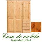 Massivholz Kleiderschrank Holz Kiefer massiv provance/honig lackiert Schlafzimmerschrank RAUNA - 3-türig mit glatter Front