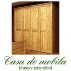 Massivholz Kleiderschrank Kiefer massiv natur lackiert Schlafzimmerschrank RAUNA - 4-türig mit glatter Front
