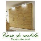 Massivholz Kleiderschrank 4-türig 244 cm Astkiefer massiv gelaugt geölt GLORIA