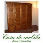 Massivholz Kleiderschrank Kiefer massiv provance/honig lackiert Schlafzimmerschrank RAUNA - 4-türig mit Kassetten-Front