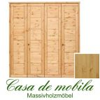 Massivholz Kleiderschrank Kiefer massiv natur lackiert Schlafzimmerschrank RAUNA - 4-türig mit Kassetten-Front