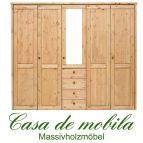 Massivholz Kleiderschrank Holz Kiefer massiv gelaugt/geölt Schlafzimmerschrank RAUNA - 5-türig mit Spiegel und glatter Front