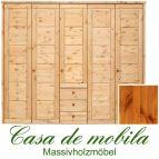 Massivholz Kleiderschrank Kiefer massiv provance/honig lackiert Schlafzimmerschrank RAUNA - 5-türig mit Kassetten-Front