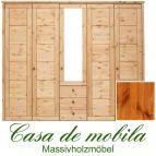 Massivholz Kleiderschrank Kiefer massiv provance/honig lackiert Schlafzimmerschrank RAUNA - 5-türig mit Spiegel und Kassetten-Front