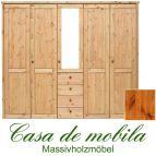 Massivholz Kleiderschrank Holz Kiefer massiv provance/honig lackiert Schlafzimmerschrank RAUNA - 5-türig mit Spiegel und glatter Front