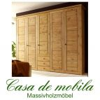 Massivholz Kleiderschrank Kiefer massiv natur lackiert Schlafzimmerschrank RAUNA - 5-türig mit Kassetten-Front