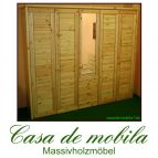 Massivholz Kleiderschrank Kiefer massiv lackiert Schlafzimmerschrank RAUNA - 5-türig mit Spiegel,naturholz
