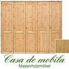 Massivholz Kleiderschrank Kiefer massiv natur lackiert Schlafzimmerschrank RAUNA - 5-türig, glatte Front